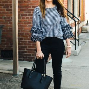 J. CREW Tiered Bell Sleeve Top Gingham {W35}